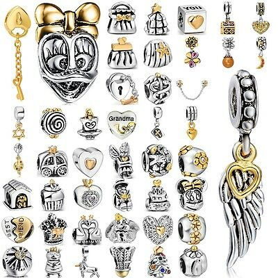 Fashion gold 925 sterling silver charms bead For PAN Bracelet Bangle Necklace UK