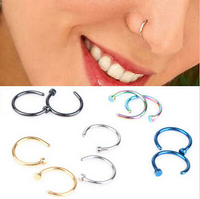 2pcs Stainless Steel Open Hoop Nose Ring Studs Earrings Body Piercing Fashion