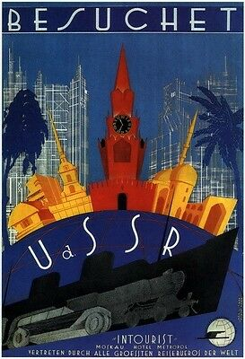 "Vintage Soviet Travel Poster A3+ HQ Reprint ""Visit the USSR"" in German 1930"