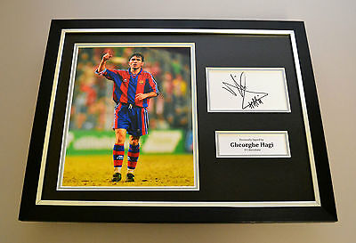 Gheorghe Hagi Signed Framed Photo Display Barcelona Autograph Memorabilia + COA