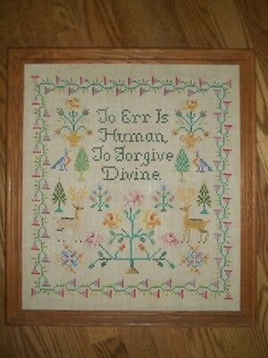 Vintage Cross Stitch Sampler On Linen 'To Err Is Human To Forgive Divine'