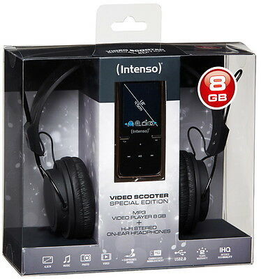 Intenso MP3 Player Video Scooter 8GB 1,8 Zoll Display ON-EAR Headphone schwarz