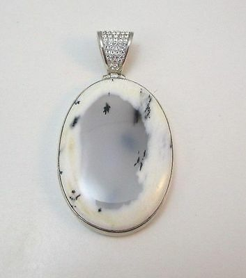 Sterling Silver Starborn Moss Agate Pendant W/ White Stones Encrusted Bale **