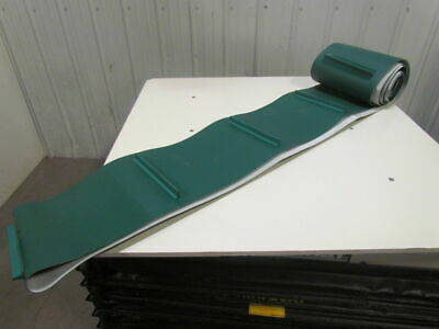 """2-Ply Green PVC/Rubber Conveyor Belt Cleated/Flights 13.81""""x29' Length Endless"""