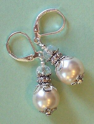 WHITE LACEY glass PEARL & Crystal drop earring LEVERBACK