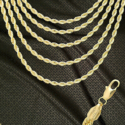 14K ITALY GOLD PLATED 4mm ROPE CHAIN NECKLACE GUARANTEED SAME DAY SHIP R4ALL
