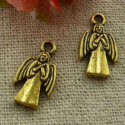 free ship 180 pieces gold plated angel charms 18x10mm #2498