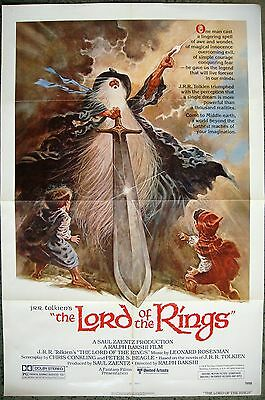 """US 1 sheet One Movie poster 27x41"""" LORD OF THE RINGS Ralph Bakshi Film 1978 (C9)"""