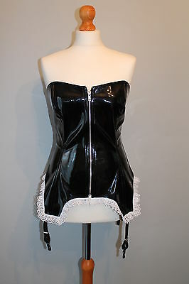 Black shiny pvc basque corset with attatched suspenders sizes 10-24