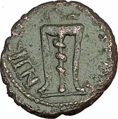 JULIA DOMNA Nicopolis ad Istrum Authentic Ancient Roman Coin Tripod Snake i48362