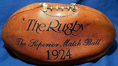 1924 RUGBY Match BALL Original Leather LONDON Est 1884 SLATER and SON Football