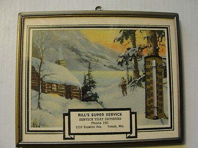 BILL'S SUPER SERVICE,TOMAH WIS,DATED 1949 ADVERTISING THERMOMETER GLASS & FRAMED