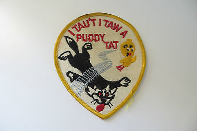 vtg I TAU'T I TAW A PUDDY TAT,SYLVESTER THE CAT & TWEETY BIRD CARTOON PATCH OLD