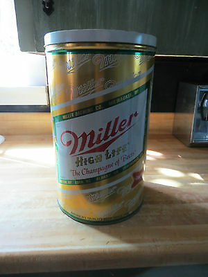 Miller High Life steel can&lid garbage can or cooler advertising display old can