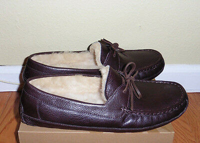UGG Australia BYRON Leather Slippers Loafers Shoes Brown 14US/13UK/48.5EU New