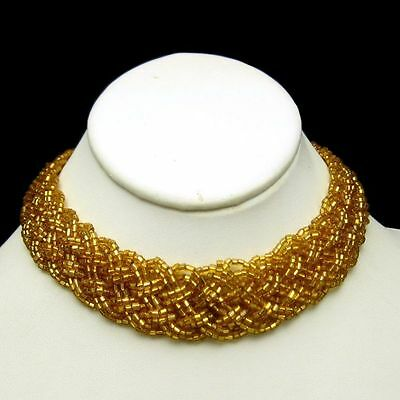 Yellow Braided Glass Beads Wide Choker Necklace Vintage 12 Multi Strands