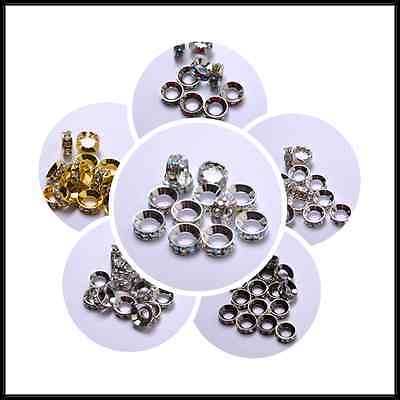 10Pcs Quality Czech Crystal Rhinestone Silver Rondelle Spacer Beads 8MM 10MM