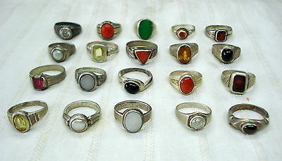 vintage antique tribal old silver rings lot rajasthan india 20pc sterling silver