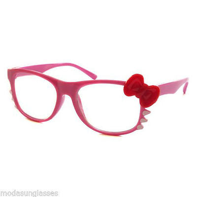 KID Girl Hello Kitty Frame Cool Clear Lens Eyeglasses Age 1-5 PINK/RED