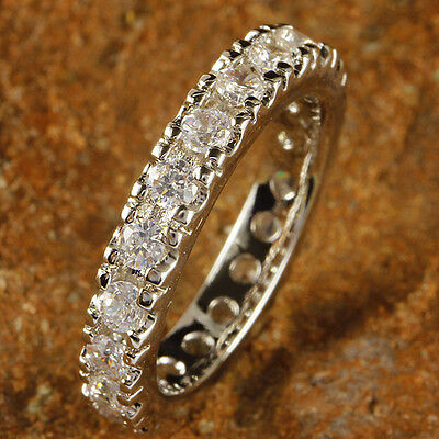 Classic Round Cut AAA White Topaz Gemstone Silver Ring Size 6 7 8 9 10 11 12 13