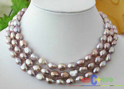 """long 50/"""" 11mm baroque freshwater cultured pearl necklace h159-2"""