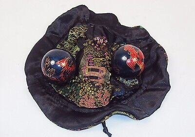 "2"" Chinese Baoding Balls w/Cushined Drawstring Pouch ~ For Exercise & Meditation"