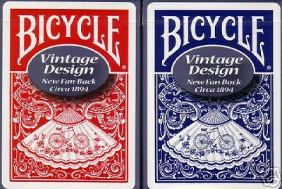 2 Ohio-Made VINTAGE Bicycle NEW FAN BACK Playing Card Decks Red/Blue 1st Print!