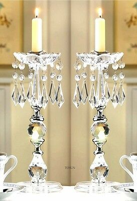 CANDLEHOLDERS: SET OF 2 GLITERING CRYSTALS TAPER CANDLE HOLDERS NIB