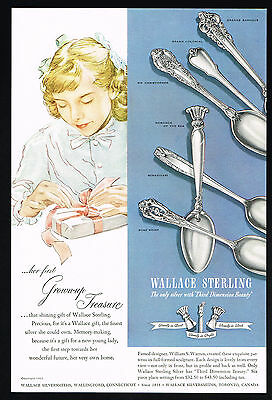 1951 Wallace Sterling Silversmiths Silverware 6 Patterns Vintage Print Ad