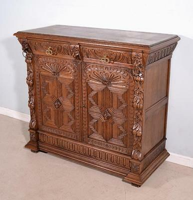 French Renaissance Revival Antique Buffet Sideboard Console in Oak with Lions