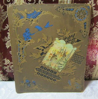 Victorian Antique Scrap Book  With Trading Cards & Misc  T*