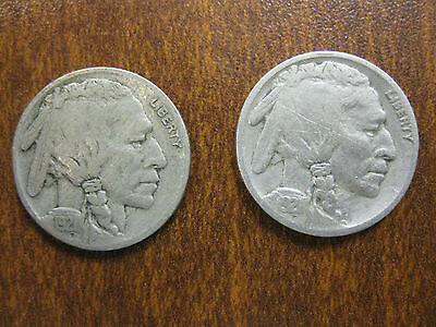 1921 Full Date Buffalo Nickel (5 cents),Lot of Two, Very Good Condition