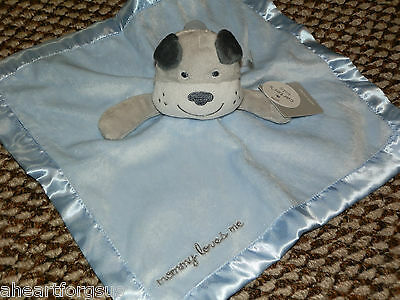 CARTERS SECURITY BLANKET BLUE MOMMY LOVES ME NEW GRAY DOG PUP NO RATTLE PUPPY