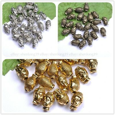 10pcs Silver Gold Bronze Metal Buddha Head Bracelets Charms Beads 13MM SH13