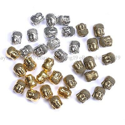10pcs Silver Gold Bronze Metal Buddha Head Bracelets Charms Beads 10MM SH880
