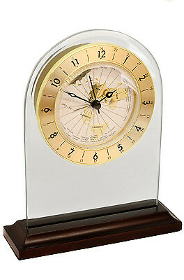 Personalised Glass Arched Mantel Clock with 24 Hour World Dial Display, Engraved