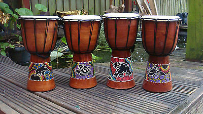 DJEMBE DRUMS 30Cm IN HEIGHT, HAND MADE AND HAND PAINTED IN BALI ''FREE POSTAGE''