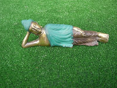 Lying Down Buddha. Made From Copper With Green And Brass Effect