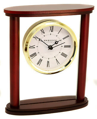 Personalised Glass with Wood Frame Mantel Clock, Roman Numeral Display, Engraved