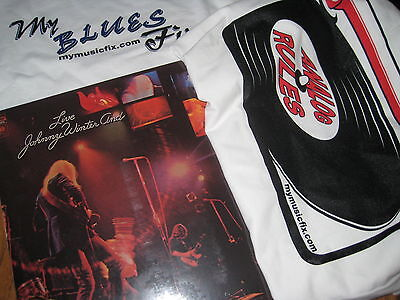 JOHNNY WINTER & LIVE FACTORY Sealed LP Gatefold Cover + BLUES FIX RULES T-SHIRT