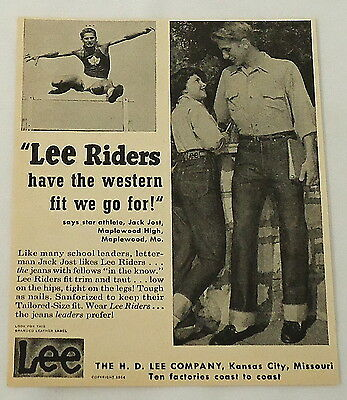 1954 LEE RIDERS Jeans ad ~ Western Fit We Go For!