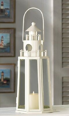 Nautical Decor Chic Lighthouse Creamy Ivory with Clear Glass Candle Lamp Lantern