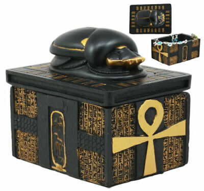 Egyptian Amulet Scarab Beetle With Ankh Hieroglyphic Base Jewelry Box Figurine