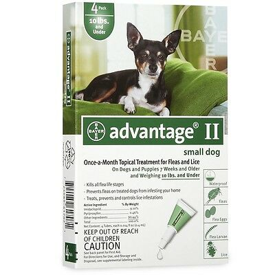 4 MONTH Advantage II Flea Control GREEN for Dogs under 10 lbs
