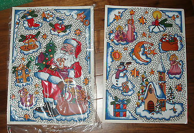SET OF 2 UNUSED CHRISTMAS WINDOW CLING FROM GERMANY SANTA ANGELS SNOWMEN*REDUCED