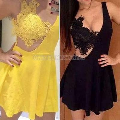 Sexy Womens Backless Open Back Lace Party Cocktail Evening Clubwear Mini Dress