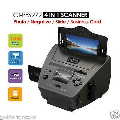 NEW 4-IN-1 Combo 14MP Photo Film Slide Business card Scanner LCD Display Edit