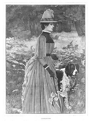 FINE ART A Woodland Walk; Victorian Lady with Dog - Antique Print 1887
