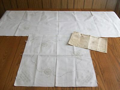 VINTAGE ROYAL SOCIETY 4-PC BUFFET SET RUNNER & DOILIES STAMPED FOR EMBROIDERY