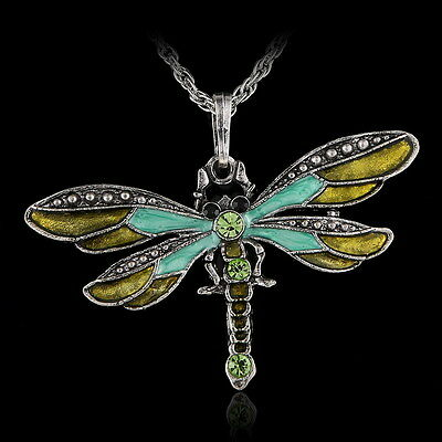 Green Enamel Dragonfly Pendant Necklace Fashion Unisex Sweet Chain Jewelry Gifts